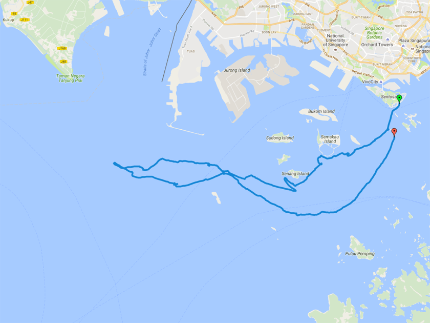 The route taken for the survey. The green arrow is the starting point at Sentosa.